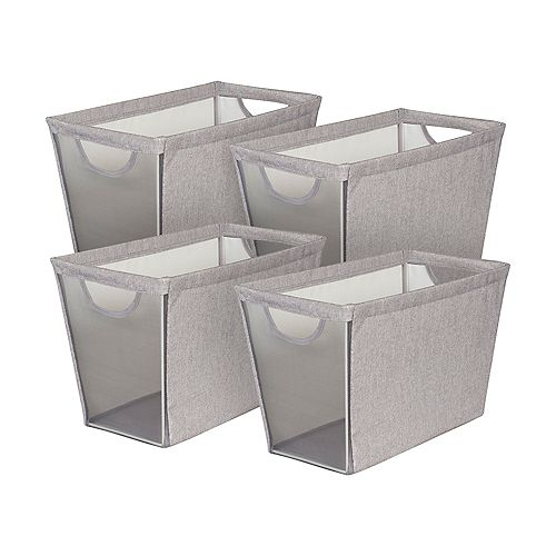 Set of 4 Narrow Storage Bin w Mesh Front