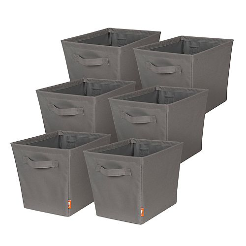 Set of 6 Small Storage Bin w Sewn on Handles
