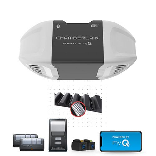 Smartphone-Controlled Ultra-Quiet & Strong Belt Drive Garage Door Opener with PLUS Lifting Power