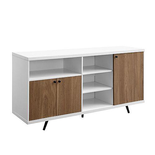 "60"" 3- Door Sideboard - Solid White/English Oak"
