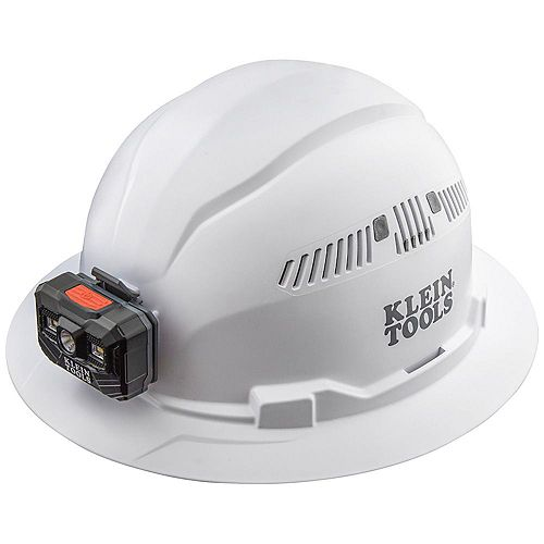 Hard Hat, Vented, Full Brim with Rechargeable Headlamp, White