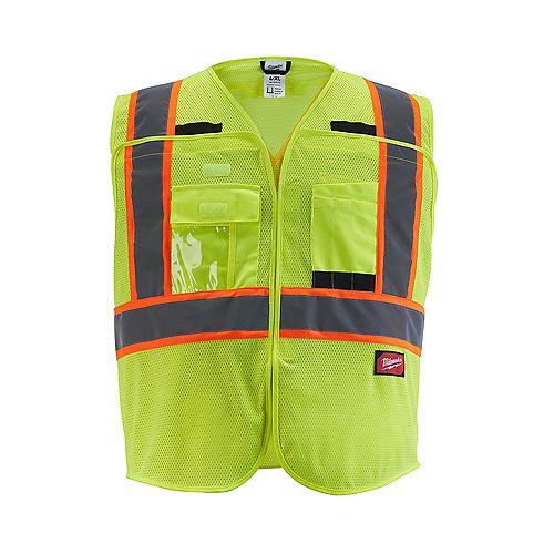 Class 2 Breakaway High Visibility Yellow Mesh Safety Vest - 2XL/3XL (CSA)