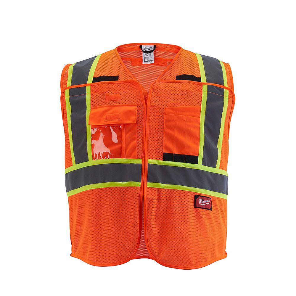 Milwaukee Tool Gilet de sécurité en maille orange haute visibilité de classe 2 - L/XL (CSA)