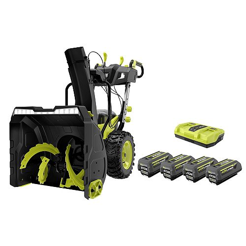 40V HP 24-inch Brushless 2-Stage Electric Snow Blower with (4) 6.0 Ah Batteries and Rapid Charger