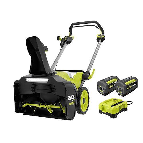 Souffleuse à neige électrique 21 pouces 40V HP avec (2) batteries de 7,5 Ah et chargeur rapide
