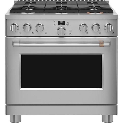 36-inch Smart Dual-Fuel Commercial-Style Range in Stainless Steel