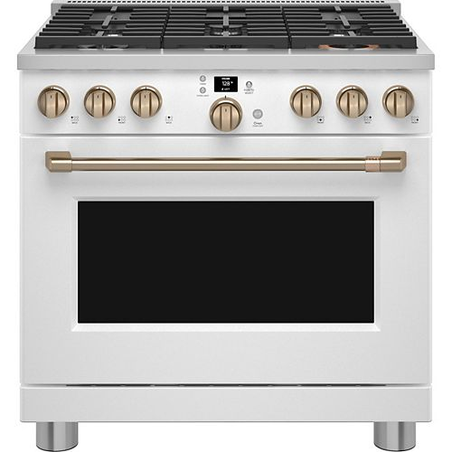 Café 36-inch Smart All-Gas Commercial-Style Range in Matte White