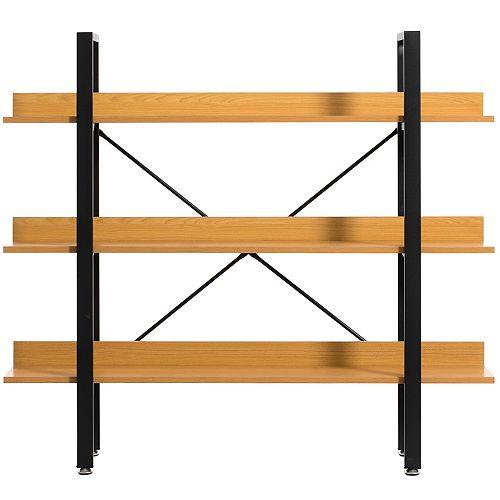 Industrial 3 Shelf Wood and Metal Etagere Rustic Bookcase Free Standing Bookshelf