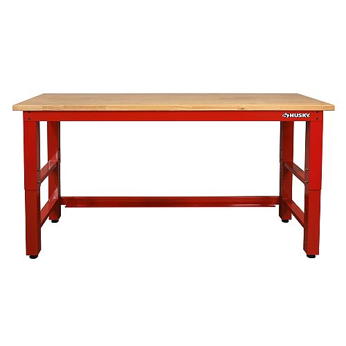 6 ft. Solid Wood Top Workbench (Red)