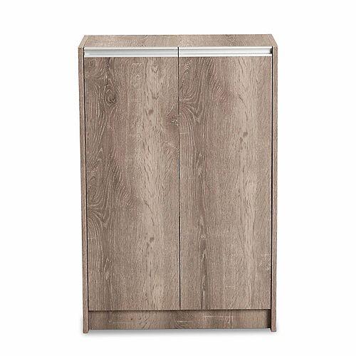 Langston 4-Shelf Shoe Cabinet in Oak Brown