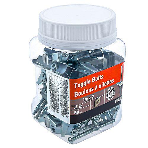 1/8X2  TOGGLE BOLTS-ZINC PLATED (50 pcs)