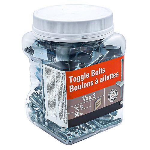 1/4X3  TOGGLE BOLTS-ZINC PLATED (50 pcs)