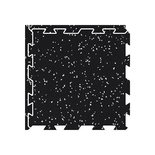 """Fit Floor 2' x 2' Rubber Interlocking Single Tile  Grey (8mm or 5/16"""" thickness)"""