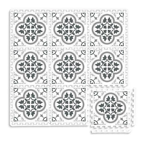Carreaux de sol emboîtables, Hamal gris de 11,4 po x 11,4 po