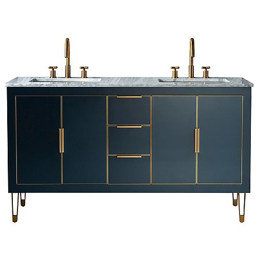 60 inch Freestanding Vanity Cabinet in Blue with Double Rectangle Basin