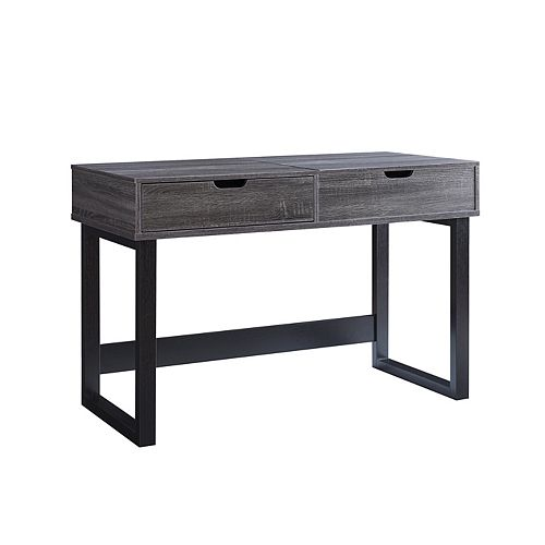 Desk with Storage, Grey/Black