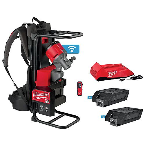 MX FUEL Lithium-Ion Cordless Backpack Concrete Vibrator Kit with 2 Batteries and Charger