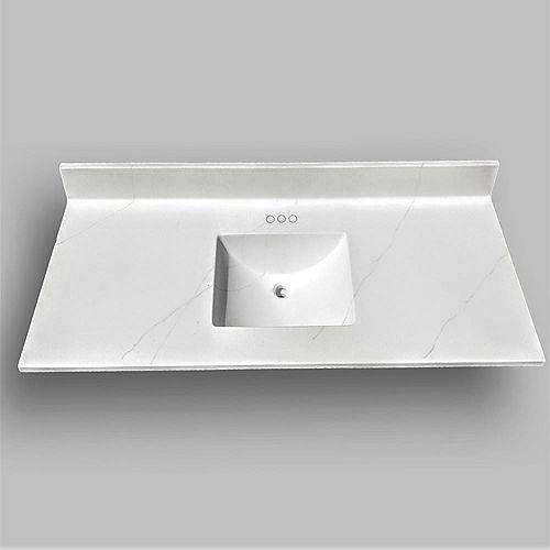 Wave 61-inch W x 22-inch D Marble Centre Basin Vanity Top in Jasper