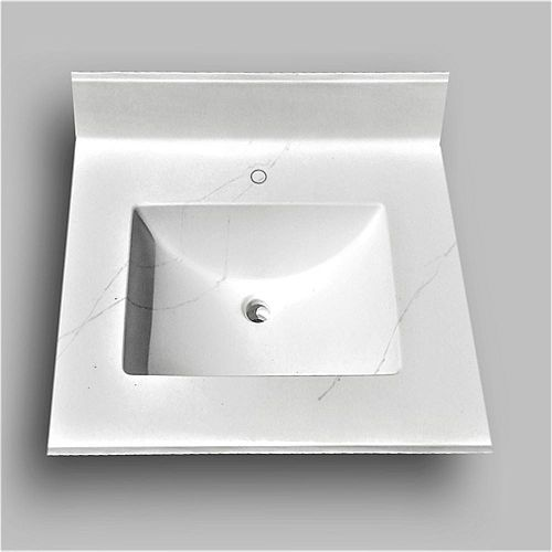 Wave 25-inch W x 22-inch D Marble Centre Basin Single Hole Vanity Top in Jasper