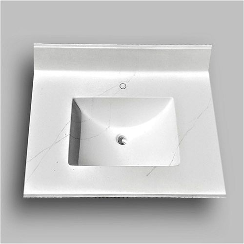 Wave 31-inch W x 22-inch D Marble Centre Basin Single hole Vanity Top in Jasper