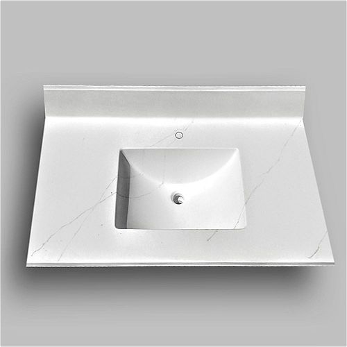 Wave 37-inch W x 22-inch D Marble Centre Basin Single hole Vanity Top in Jasper