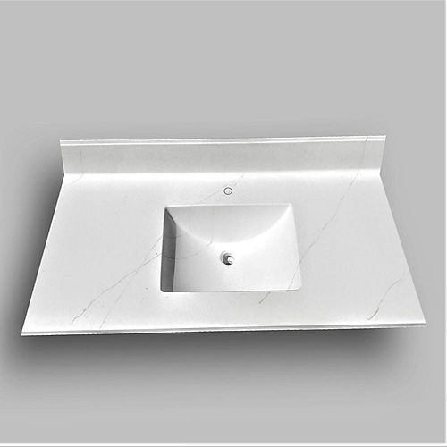 Wave 49-inch W x 22-inch D Marble Centre Basin Single hole Vanity Top in Jasper