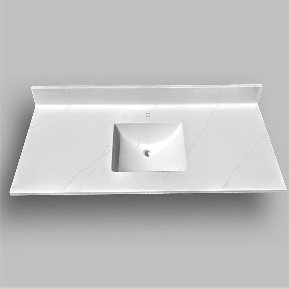 The Marble Factory Wave 61-inch W x 22-inch D Marble Centre Basin Single Hole Vanity Top in Jasper