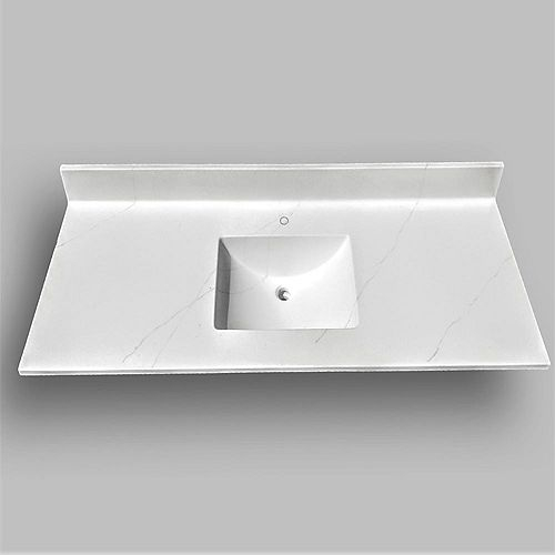 Wave 61-inch W x 22-inch D Marble Centre Basin Single Hole Vanity Top in Jasper