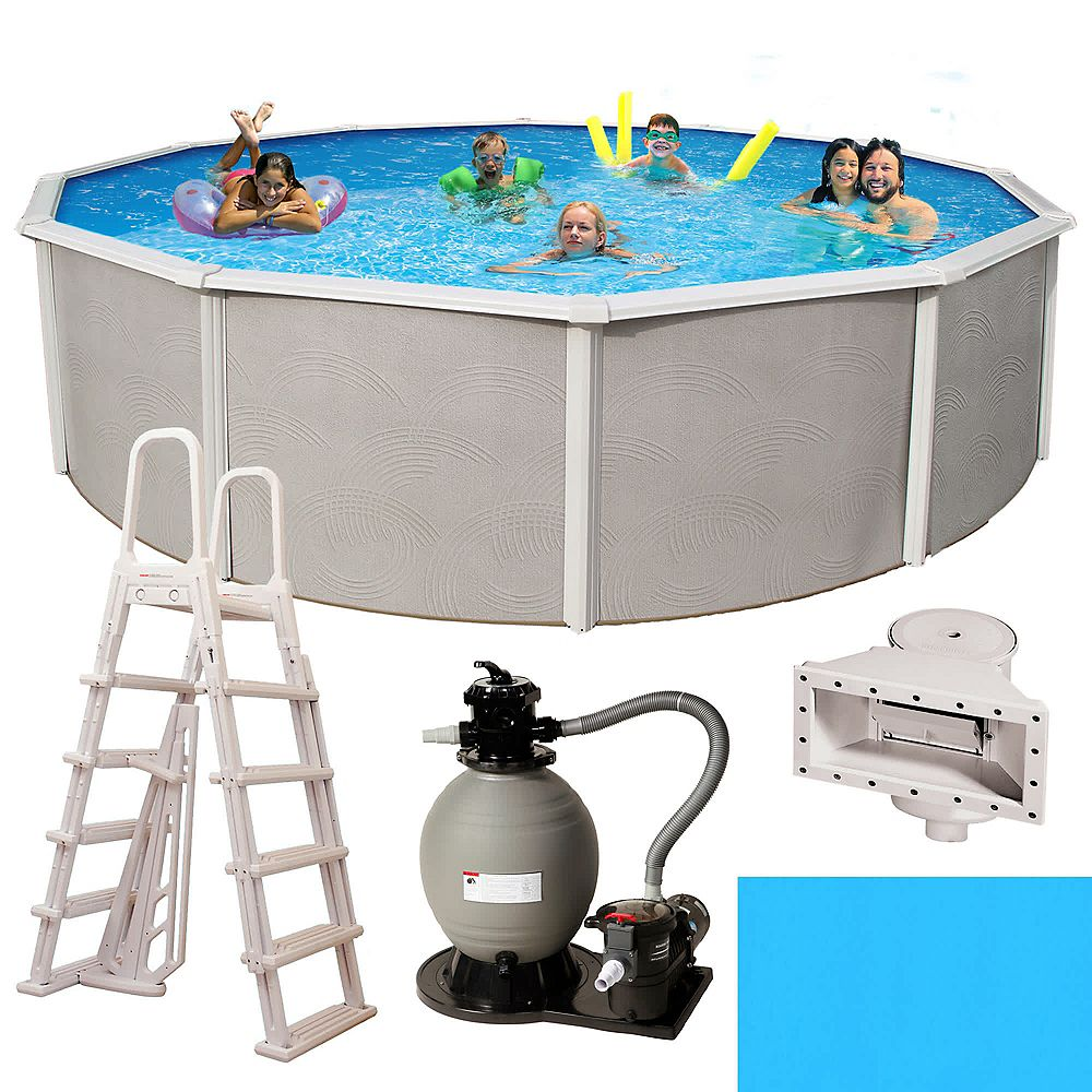 Blue Wave Belize 24 Ft Round 52 In Deep 6 In Top Rail Metal Wall Swimming Pool Package The Home Depot Canada