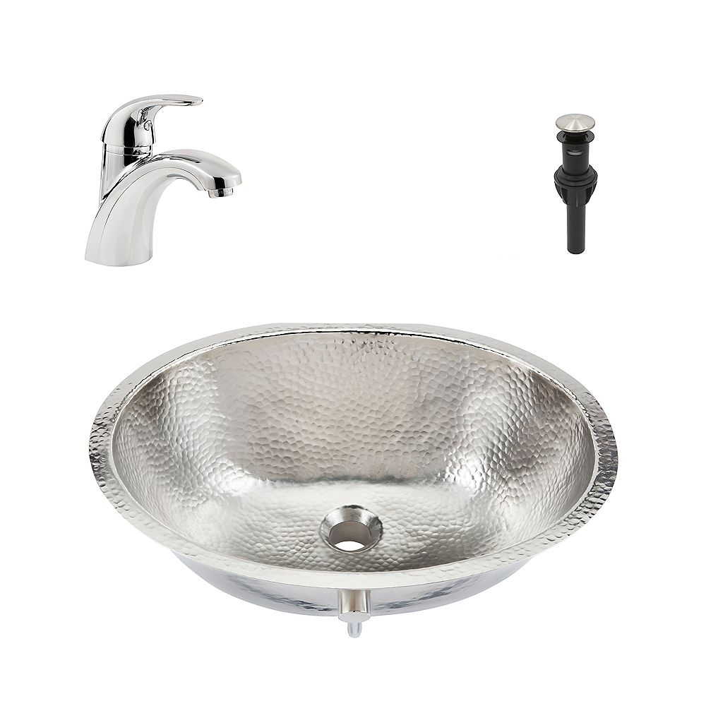 Sinkology Pavlov All-in-One Undermount Nickel Bath Sink Design Kit with Pfister Parisa Faucet and Drain