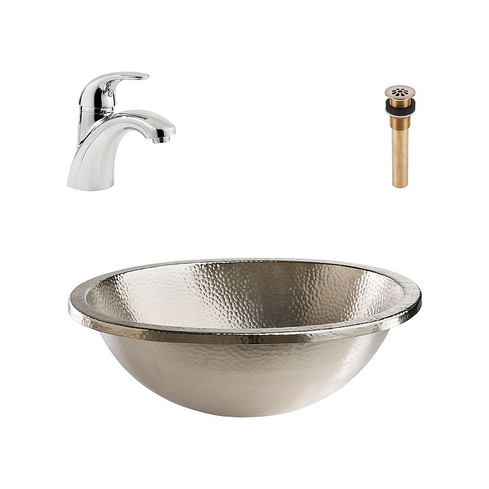 Sinkology Edison All-in-One Drop-In or Undermount Nickel Bath Sink Kit with Pfister Parisa Faucet and Drain