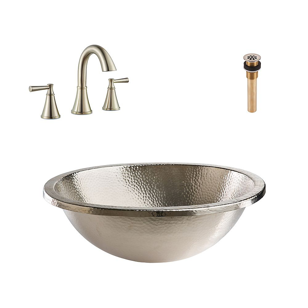 Sinkology Edison All-in-One Drop-In or Undermount Nickel Bath Sink Kit with Pfister Cantara Faucet and Drain