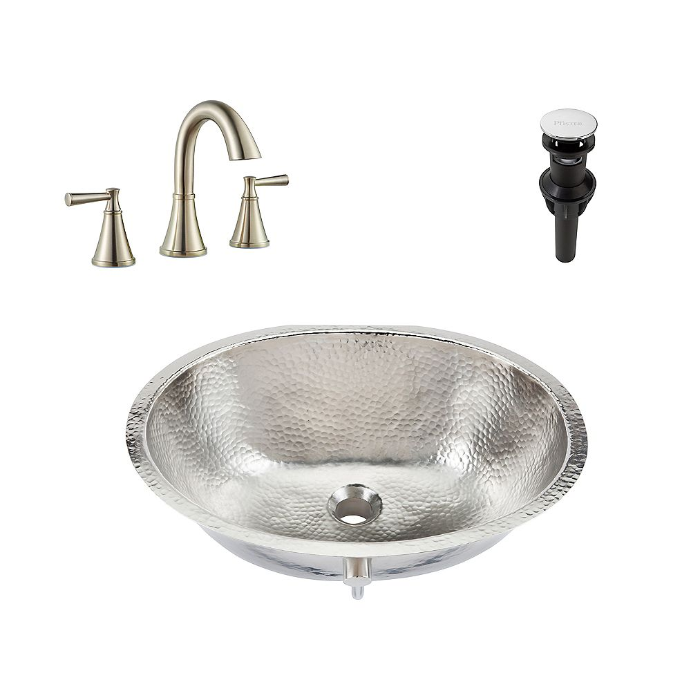 Sinkology Pavlov All-in-One Undermount Nickel Bath Sink Design Kit with Pfister Cantara Faucet and Drain