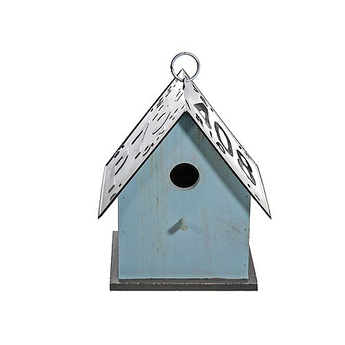 Wood Birdhouse With License Plate Roof (Teal)