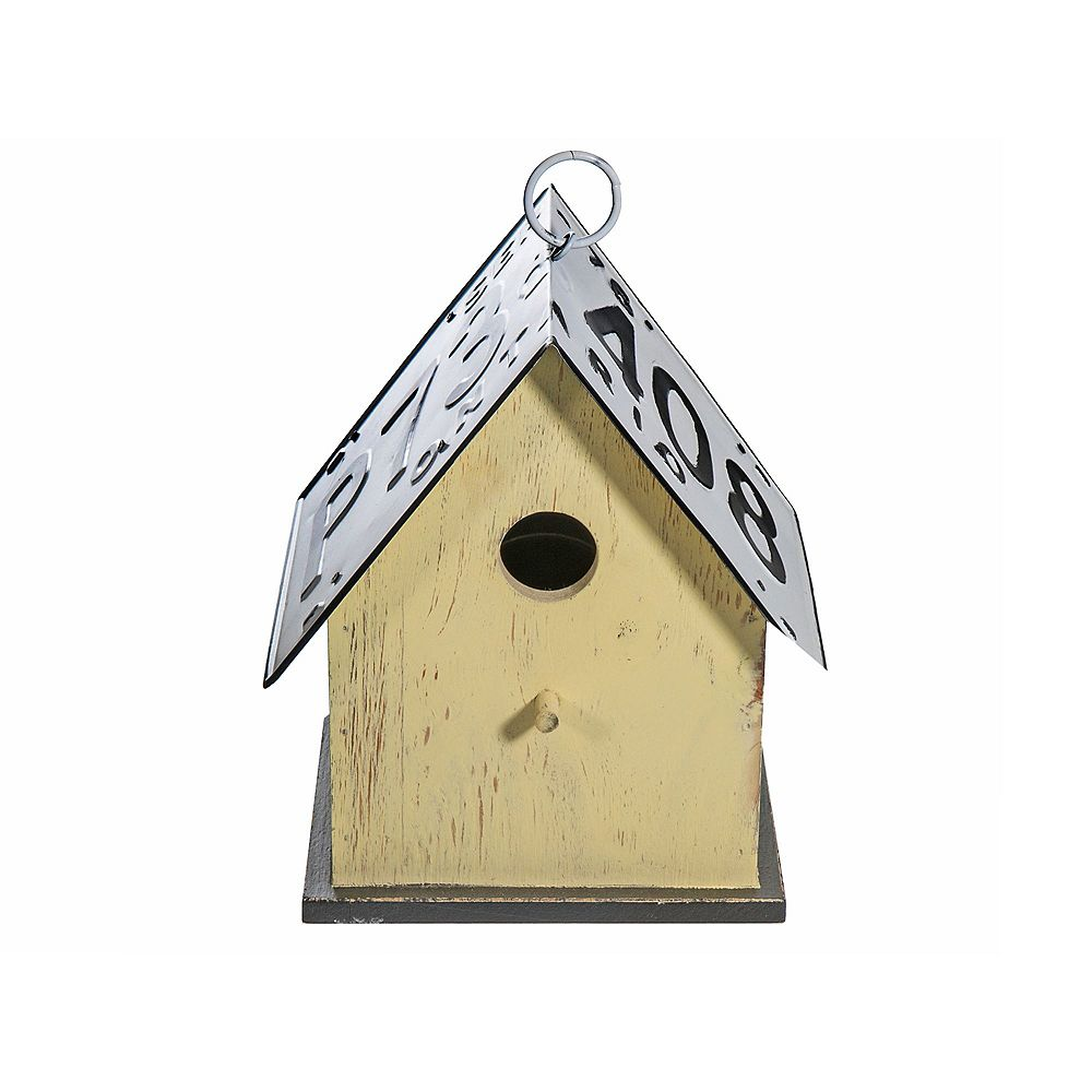 IH Casa Decor Wood Birdhouse With License Plate Roof (Yellow)