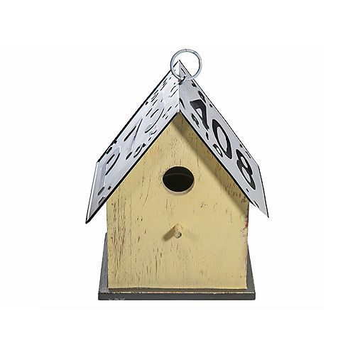 Wood Birdhouse With License Plate Roof (Yellow)