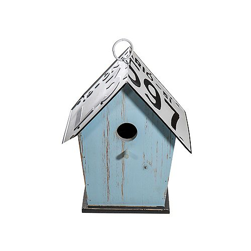 Wood Tall Birdhouse With License Plate Roof (Teal)