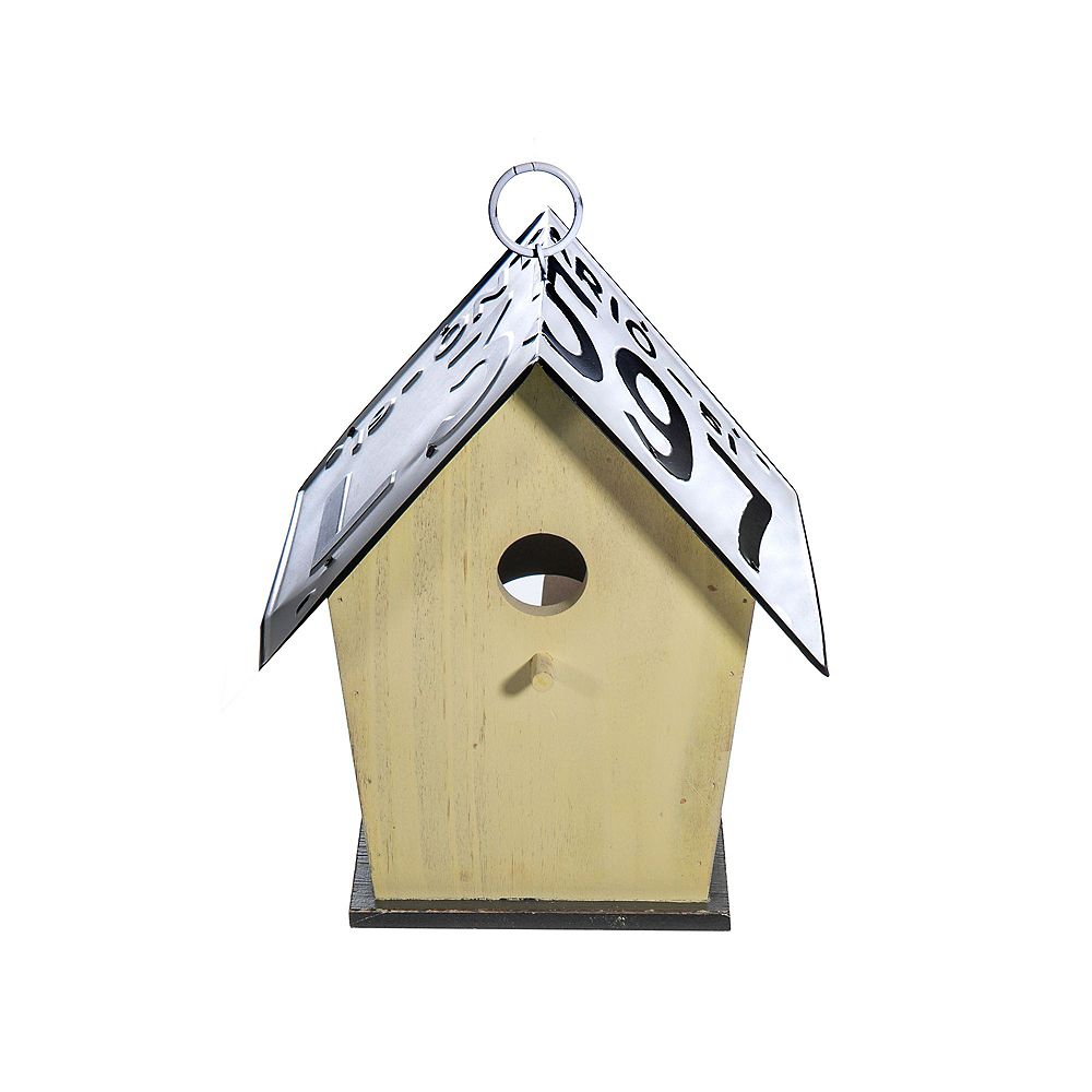 IH Casa Decor Wood Tall Birdhouse With License Plate Roof (Yellow)