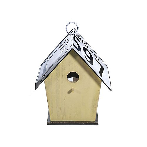 Wood Tall Birdhouse With License Plate Roof (Yellow)