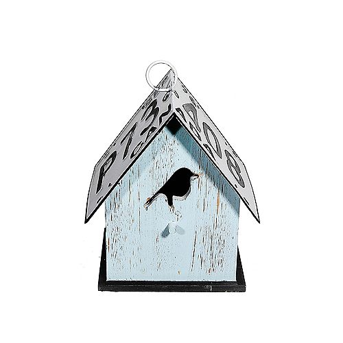 Wood Birdhouse With License Plate Roof (Bird-Teal)