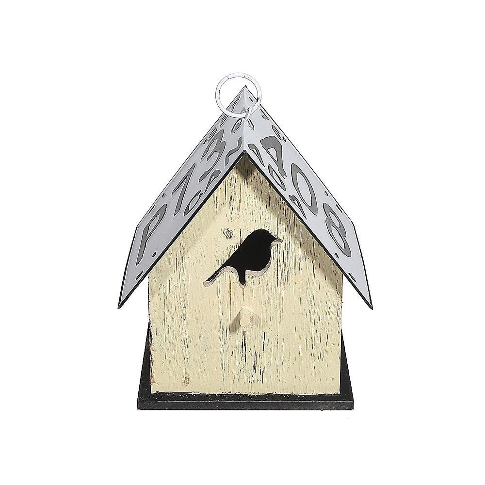 IH Casa Decor Wood Birdhouse With License Plate Roof (Bird-Yellow)