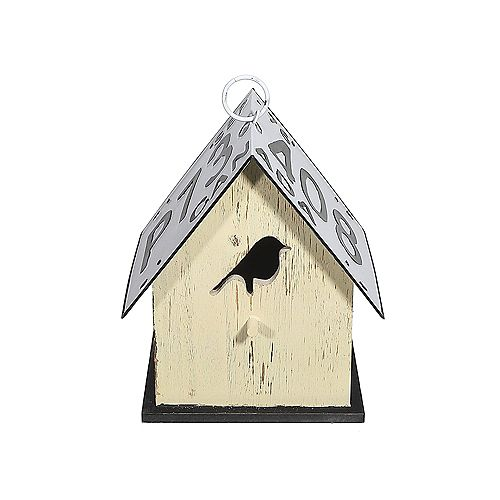 Wood Birdhouse With License Plate Roof (Bird-Yellow)