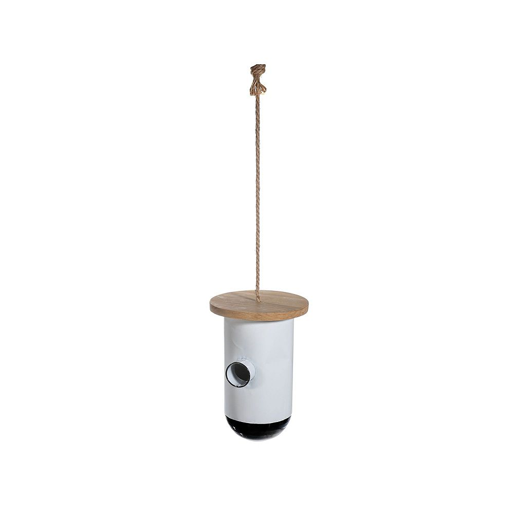 IH Casa Decor Metal Round Birdhouse With Square Wood Roof