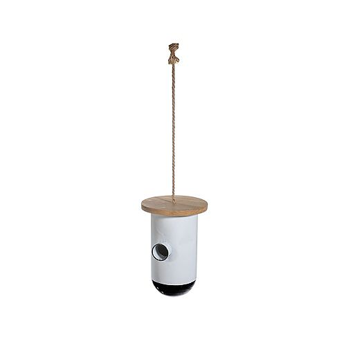 Metal Round Birdhouse With Square Wood Roof
