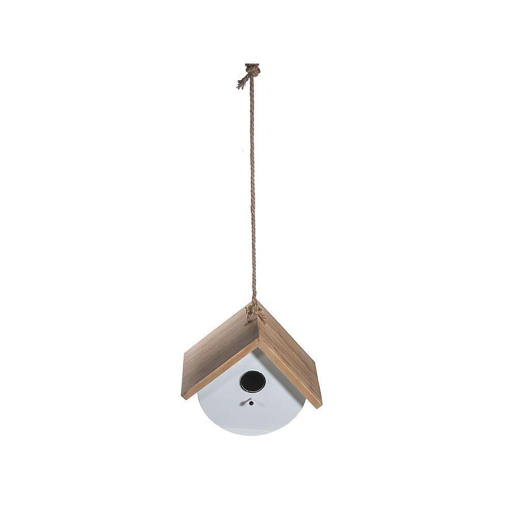 IH Casa Decor Metal Round Birdhouse With Triangle Wood Roof