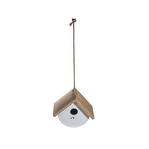 Metal Round Birdhouse With Triangle Wood Roof