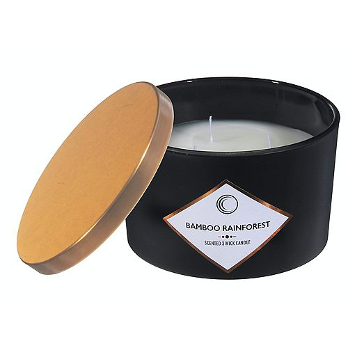 14Oz 3 Wick Matte Black Scented Candle W Lid (Bamboo Rainforest)