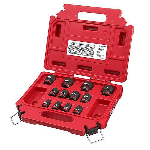 SHOCKWAVE 3/8 -inch Drive SAE 6 Point Impact Socket Set (12-Piece)