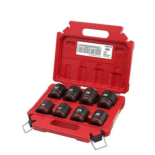 SHOCKWAVE 3/4 -inch Drive Metric 6 Point Impact Socket Set (8-Piece)