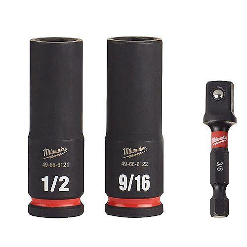SHOCKWAVE Impact Duty 3/8 -inch Drive Deep Well Socket Set (3-Pack)